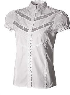 Almsach Trachtenbluse Ettal weiß tailliert mit Puffärmelchen - Größen 34-46