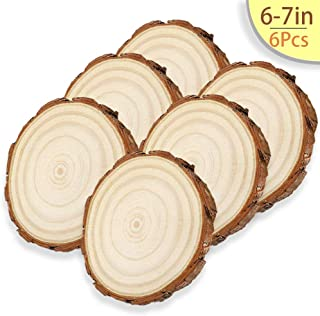 6 Pcs / 6-7 Inches Unfinished Wood Slices, WOODOUT Natural Round Rustic Woods Slices Pine Wood Coasters for Weddings Decoration Christmas Ornaments DIY Crafts