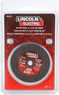 Lincoln Electric KH131 Abrasive Cut-Off Wheel, 25000 RPM, 3 Diameter x 1/16 Thick, 3/8 Arbor, Red (Pack of 5) by Lincoln E...