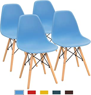 Furmax Pre Assembled Modern Style Dining Chair Mid Century Modern DSW Chair, Shell Lounge Plastic Chair for Kitchen, Dining, Bedroom, Living Room Side Chairs Set of 4(Blue)