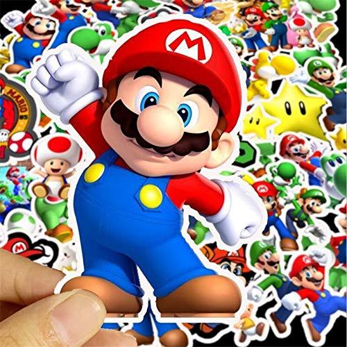 50 Uds.Pegatinas de juego de Mario de dibujos animados a prueba de agua para portátil, monopatín, maleta, guitarra, muebles, pegatinas, pegatinas de juguete DIY
