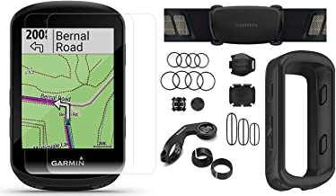 Garmin Edge 530 (2019 Version) Cycle GPS Bundle with Chest Strap HRM, Bluetooth Speed/Cadence Sensors, Silicone Case & Screen Protectors (x2) | Navigation, Mounts | Bike Computer (Black + Sensors)