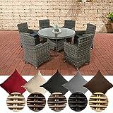 CLP Polyrattan Sitzgruppe LARINO mit Polsterauflagen | Garten-Set: EIN Esstisch und 6 Gartenstühle erhältlich Bezugfarbe: Eisengrau, Rattan Farbe grau-meliert