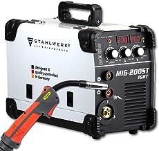 Acero de Mig 200ST IGBT–Mig Mag–Gas sudor dispositivo con 200amperios, Flux alambre de relleno Adecuado, con MMA S de mano, color blanco, 5años de garantía del fabricante