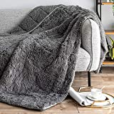 Sivio Luxury Shaggy Longfur Weighted Blanket 15lbs | Snuggly Fuzzy Faux Fur Heavy Warm Elegant Cozy Plush Sherpa Microfiber Blanket | for Couch Bed Chair Photo Props - 60'x80', Grey