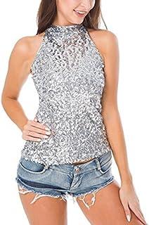 Chaleco Sexy Blusa con Lentejuelas Mujer Crop Tops de Danza Camiseta sin Manga Bandeau Cuello Halter Traje Pole Dance Clubwear