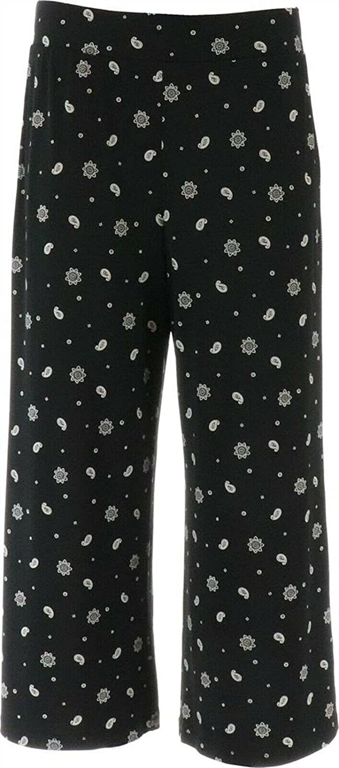 Denim Co Printed Jersey Pull-On Wide-Leg Oakland Mall A378243 Crop Pants Branded goods