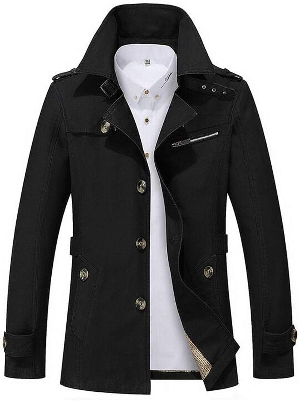 - BU2H Men Jacket Winter Winter Winter Warm Overcoat Outwear Slim Long Trench Buttons Coat 70cf60