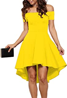 f9e7cfa66c Sarin Mathews Womens Off The Shoulder Short Sleeve High Low Cocktail Skater  Dress