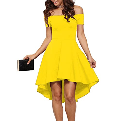 562b67d33aa5 Sarin Mathews Womens Off The Shoulder Short Sleeve High Low Cocktail Skater  Dress