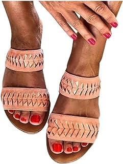Padaleks Ladies Sandals Open Toe Bohemia Women Sandal Flip Flops Slide Beach Holiday Shoes Slip On Flats Slippers