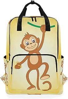 MONTOJ Mochila de Viaje con Mono y Mochila Escolar de plátano