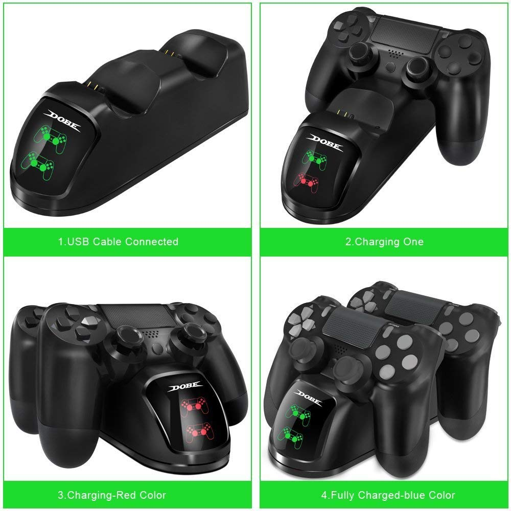 Estación de Carga Doble Cargador Base de Carga Docking Station para Playstation 4 PS4 Slim PS 4 Pro Cargador Mando DualShock 4 Controller: Amazon.es: Electrónica
