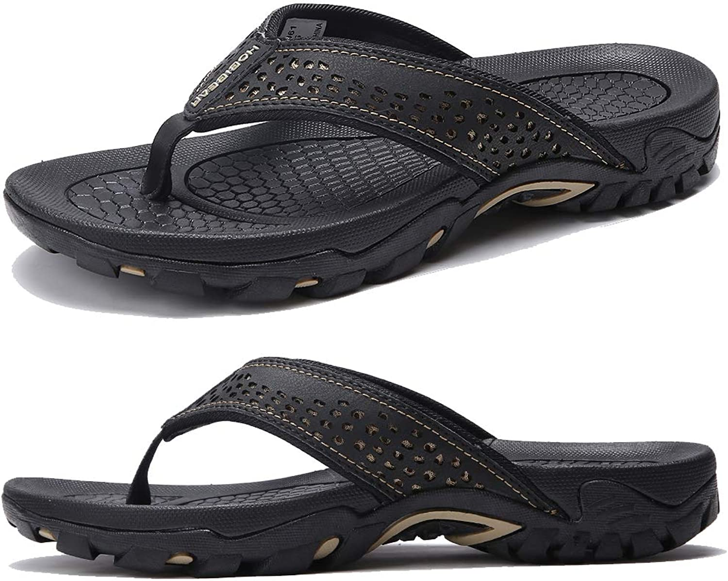 KIIU Mens Flip Flop Indoor and Outdoor Thong Sandals Beach Slippers Black, 41