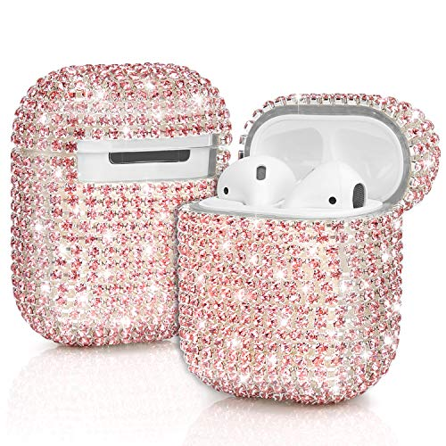 JIELIELE Airpods Cases, Bling Diamond Airpods Case Cover Glitter Cute Airpod Accessories Compatiable with Apple Airpods 1 2 (Pink) (She Doesnt Know Shes Beautiful One Direction)
