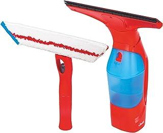 Vileda Windomatic Set Aspirador de ventanas y mopa de microfibras con spray, limpiacristales con cuello flexible y pulverizador con mopa, bater?a extra duradera, medidas 17.5 x 12 x 32 cm, color rojo