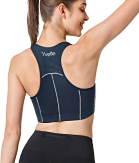 Yvette Women's Zip Front High Impact Sports Bra Breathable Racerback