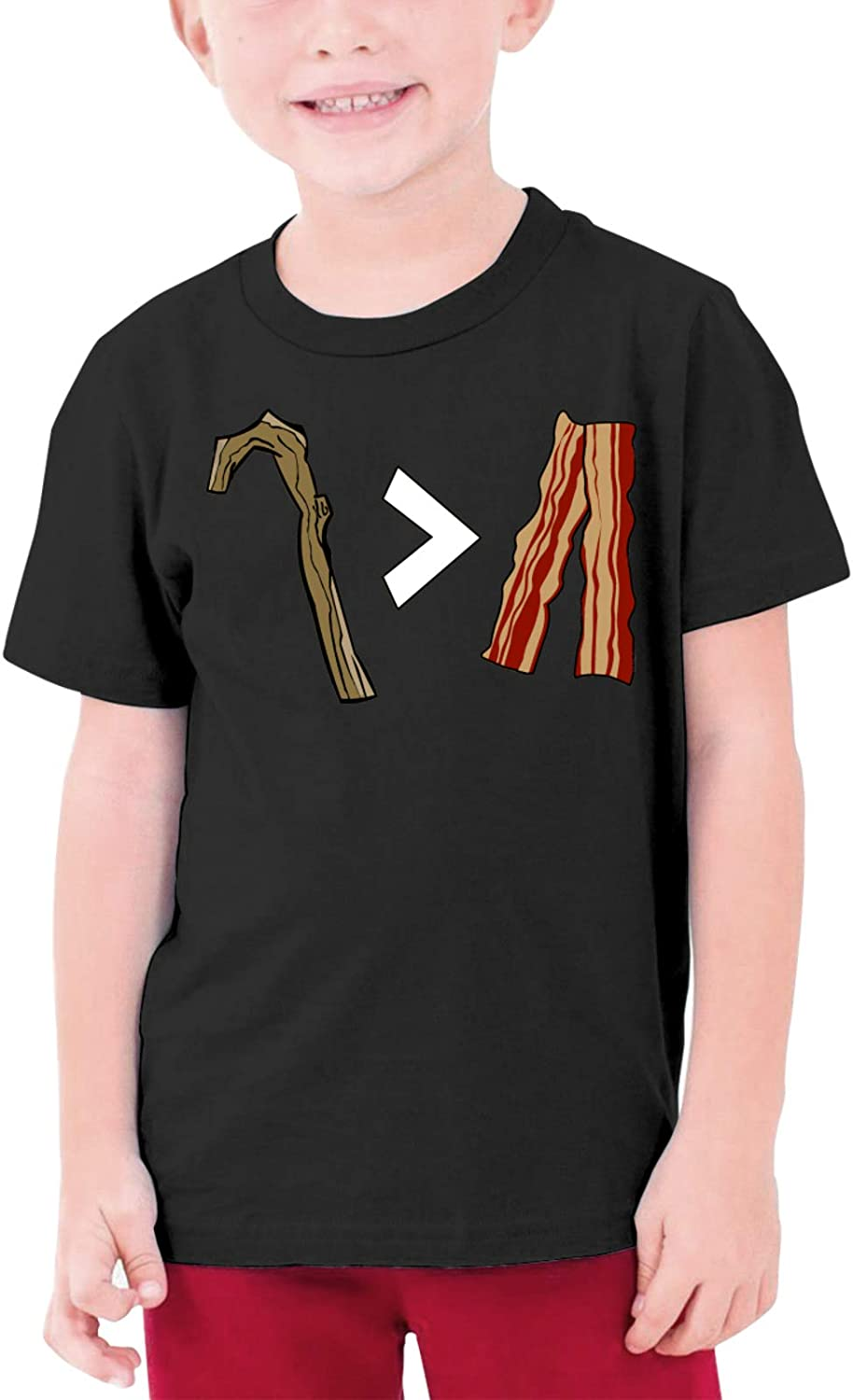 My Stick is Better Than Bacon Boys Girls Tshirts Short Sleeve Cotton T-Shirt Youth Tees Tops