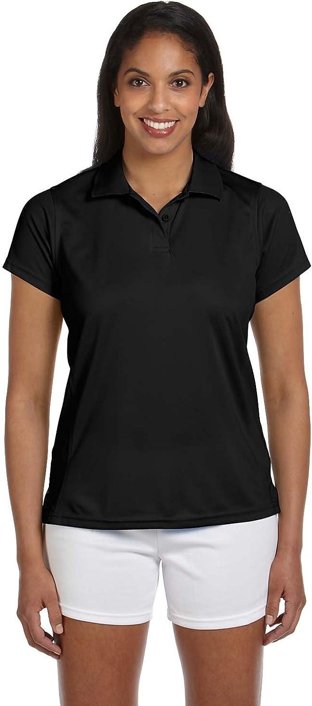 Harriton Ladies' 4 oz. Polytech Polo - BLACK - S