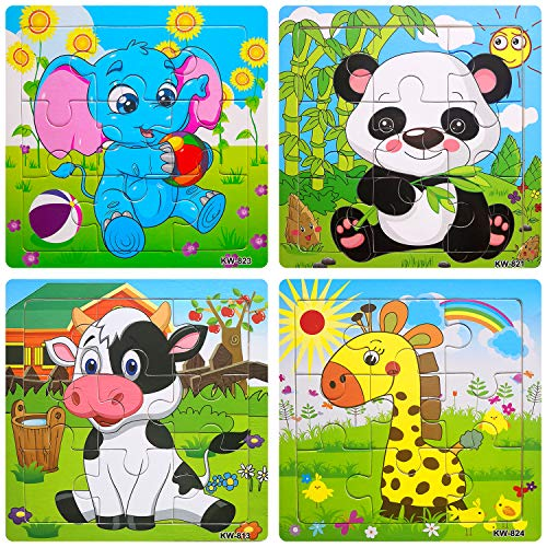 Wooden Jigsaw Puzzles Set for Kids Age 3-5 Year Old Animals Preschool Puzzles for Toddler Children Learning Educational Puzzles Toys for Boy and Girl