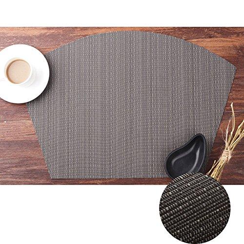 Kuke Isolation thermique Sets de table anti-tache lavable tissé Sets de table Sets de table rond tissé Sets de table, gris foncé, 45 * 34cm