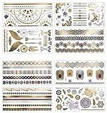 8 Hojas Tatuajes Temporales Adultos Dorados y Plateados, AOBETAK Metálico Joyería Falsos Temporale Tatuajes, Etiqueta Engomada Tribal Realista para Mujeres Hombres Niños
