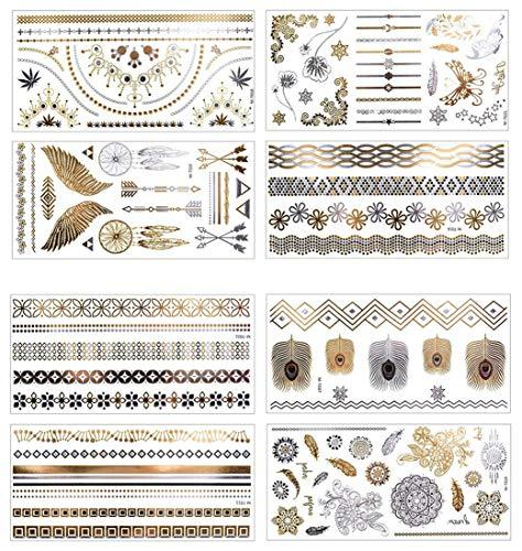 8 Blatt Temporäre Klebe Tattoos, AOBETAK Gold und Silber Metallic Wasserdicht Klebetattoos Zum Aufkleben Auf Die Haut Armbänder,Glitzer Fake Tattoo Set für Erwachsene Jugendliche Kinder