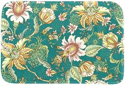 EGGDIOQ Doormats Vintage Flowers Custom Print Bathroom Mat Waterproof Fabric Kitchen Entrance Rug, 23.6 x 15.7in