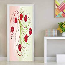 Watercolor Flower,3D Door Wallpaper Murals Girl Profile Poppies Floral Hair in Watercolor Effect Artistic Design Print for Home Decor Green Red W17xH79 inch
