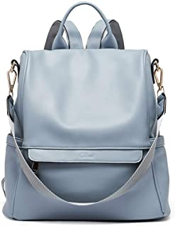 Women Backpack Purse Fashion Leather Large Travel Bag Ladies Shoulder Bags Blue Size: Large
