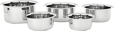 Amazon Brand - Solimo Stainless Steel Tope Set size 10cm, 11cm,12 cm,14cm,15cm (5 pieces, 420 ml , 550 ml, 840 ml, 1150 ml an