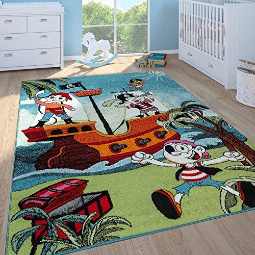 Paco Home Kinderteppich Kinderzimmer Spielteppich Kurzflor Piratenschiff Schatzkiste In Bunt, Grösse:120x170 cm