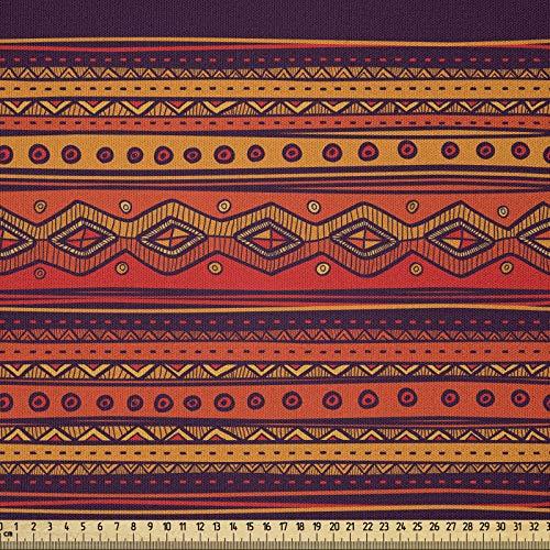 ABAKUHAUS Naranja Tela por Metro, Abstrait Ethno Doodle, Microfibra Decorativa para Artes y Manualidades, 1M (230x100cm), Ciruela Naranja Roja