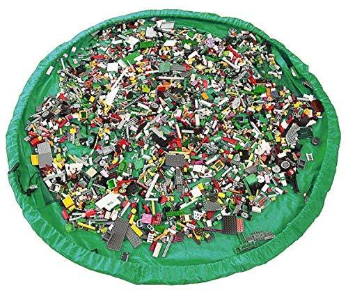 Funky Planet Bolsa de Almacenamiento de Juguetes para Lego, Bolsas de Organizador, Alfombra de Juego para niños de 60 Pulgadas (150 cm) - Organizador portátil de Juguetes para niños (Green)