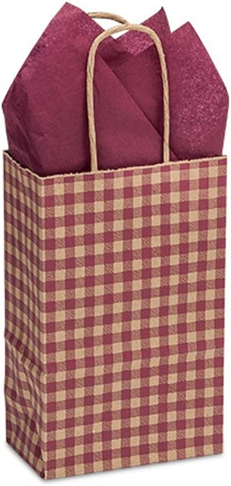 NW Burgundy Max 79% OFF Gingham Paper Shopping Bags - 3 Size Award 1 x Rose 2 5