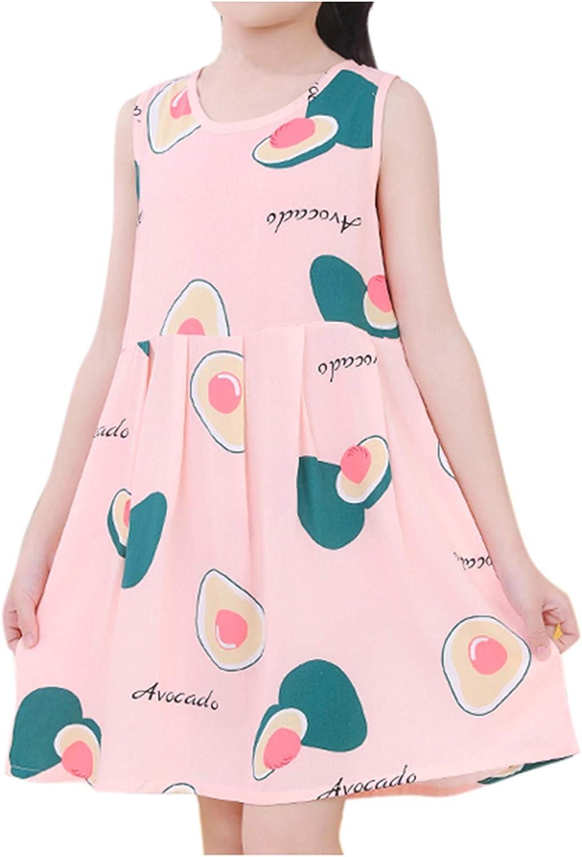 Girls Denim Skirt Scratch Sleeves Baby Love Blossom Print A Line Tank Princess Dress