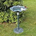 GardenKraft 17430 Solar Lit Bird Bath with Verdigris Metal Effect | Solar Powered Light Feature | Weatherproof | 80cm x 43cm from Benross Marketing Ltd