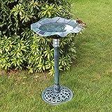 GardenKraft 17430 Solar Lit Bird Bath with Verdigris Metal Effect | Solar Powered Light Feature | Weatherproof | 80cm x 43cm
