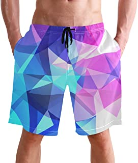 FFY Go Beach Shorts, Abstract Triangles Geometric Printed Mens Trunks Swim Short Quick Dry with Pockets for Summer Surfing...