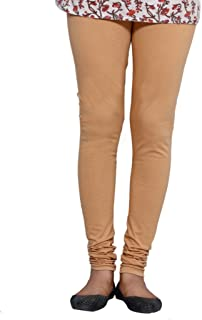 IndiWeaves Womens Prremium Cotton Full Ankle Length Solid Colors Leggings-Beige-Free Size