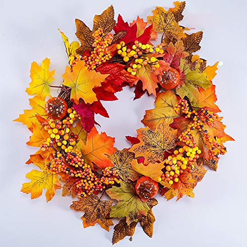 SUNGFINE Artificial Wreath Flower Garlands with Pumpkin and Autumn Leaves for Front Door Indoor or Outdoor Wall Wedding Home Decoration (Autumn Leaves, 8.26'×17.7')
