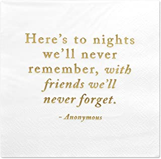 Andaz Press Here's to Nights, Funny Quotes Cocktail Napkins, Gold Foil, Bulk 50-Pack Count 3-Ply Disposable Fun Beverage Napkins for Birthday Party, Holiday, Christmas, New Year's Eve Bar