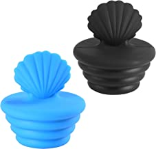 Universal Bathtub Stopper for Bathroom, Bathtub Drain Stopper and Sink Drain Plug for Kitchen, Black and Blue-2 Pack