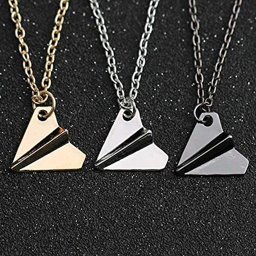 XIUWOUG 3pc One Direction Halskette Papier Flugzeug Flugzeug Anhänger Gold Schwarz Pistole Silber Farbe Mode Einfacher Schmuck Männer Frauen