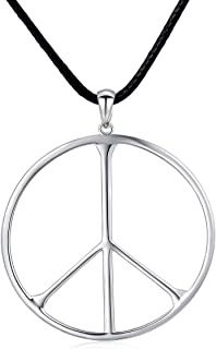 SILVER MOUNTAIN S925 Sterling Silver Classic Peace Sign Large/Small Hippie Pendant Necklace for Men Women
