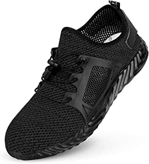 SUNBA YOUTH Steel Toe Shoes Men, Safety Work Shoes,Mesh Breathable Lightweight Comfortable Anti Slip Safety Shoes, Puncture Proof Slip Resistant Industrial Construction Shoes Sneakers