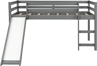 GLCHQ Multifunctional Design Kids Loft Bed with Slide for Boys & Girls Bedroom (Gray)