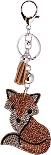 Crystal Rhinestone Charms Diamante Animals Eyes Charm Key Ring Pendant Key Chains Cute Purse Bag Gifts - Champagne Fox