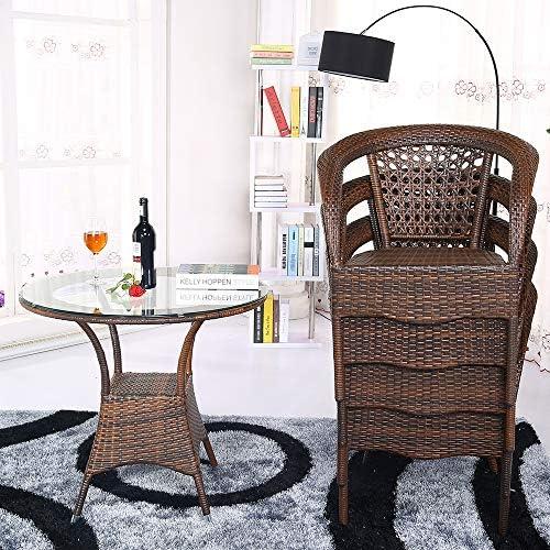 DASENLIN Freizeit Tische und Stühle, Yuet Yuen Freizeit Rattansessel, Teetisch Balkon, Tisch und Stuhl, Outdoor-Freizeit-Rattan Tisch und Stuhl  handel, Kaffee, Tabelle 80  80  72