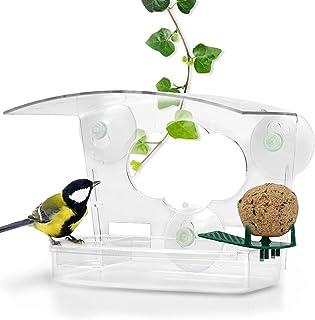 Mangeoire à Oiseaux 3 en 1 pour fenêtres en Verre Acrylique Transparent avec ventouses, mangeoire pour fenêtres avec Bain ...